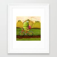 cycling Framed Art Prints featuring Cycling by Rozalek