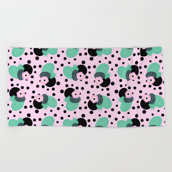 Fruity floral with dots Beach Towel