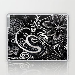 Flower Abstract Zentangle Doodle on Scratchboard (Enhanced Contrast) Laptop & iPad Skin