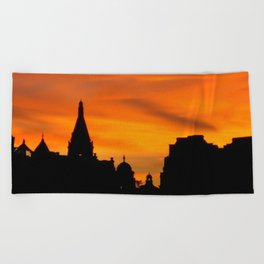 London Sunset in sillouette bywhacky Beach Towel