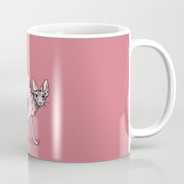 Playful Sphynx Kitty Arching Its Back - Cute Nude Cat - Rose Blush Background Coffee Mug