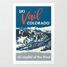 Vintage Vail Ski Poster Blue Art Print