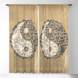 Yin-Yang Cats - Gold Sheer Curtain