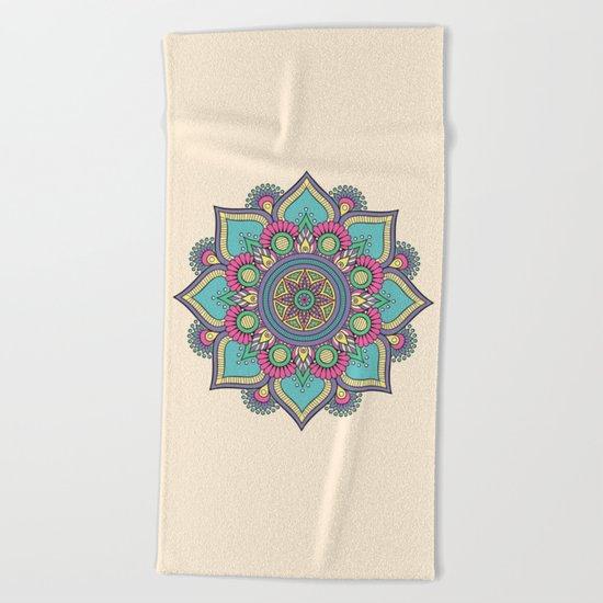 Colorful Abstract Floral Mandala Beach Towel