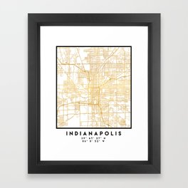 INDIANAPOLIS INDIANA CITY STREET MAP ART Framed Art Print