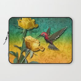 Hummingbird Gold Roses & Damask Laptop Sleeve