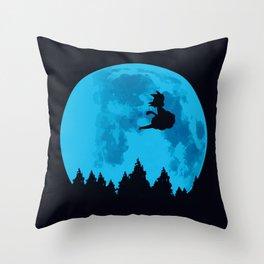The Moon on Dragon Ball - Blue Throw Pillow