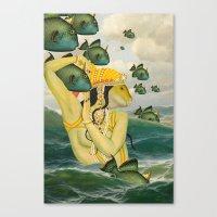 mermaid Canvas Prints featuring MERMAID by Julia Lillard Art