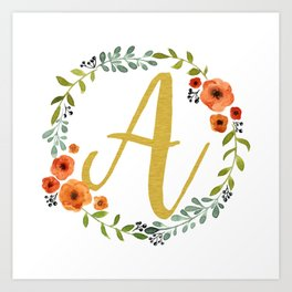 Floral Initial Wreath Monogram A Gold Art Print
