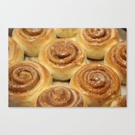 Homemade baking. Buns with milk cream and iced sugar. Canvas Print