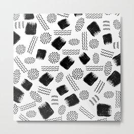 Black white geometrical 80s pattern paint brushstrokes Metal Print
