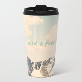 Wild and Free Faded Colorado Mountains Landscape, Clouds, blue skies, rockies Travel Mug