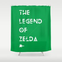 the legend of zelda Shower Curtains featuring The Legend of Zelda by Slippytee Clothing