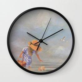Collecting Sea Shells Wall Clock