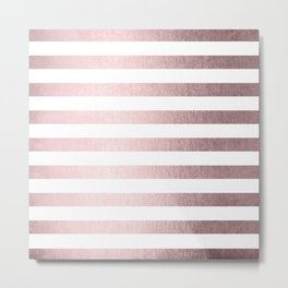Simply Striped Rose Gold Palace Metal Print