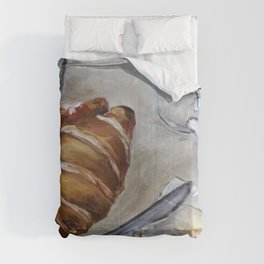 French breakfast, coffee and croissant, original oil painting, daily traditional art Comforters