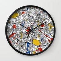 mondrian Wall Clocks featuring Berlin mondrian by Mondrian Maps