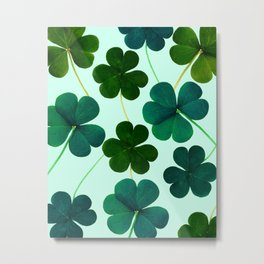 Green leaf pattern with light blue background #society6 Metal Print