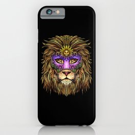 Mardi Gras - Pride Lion With Cute Mask iPhone Case