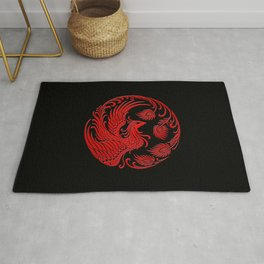 Traditional Red and Black Chinese Phoenix Circle Rug