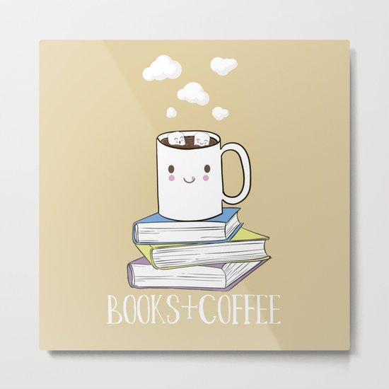 Books + Coffee Metal Print