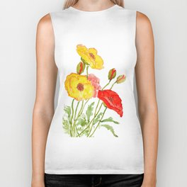 red and yellow  poppies Biker Tank