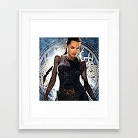 lara croft Framed Art Prints featuring Angelina Jolie as Lara Croft by Brian Raggatt