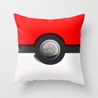 pokeball Throw Pillows featuring Pokeball by Studio Momo╰༼ ಠ益ಠ ༽