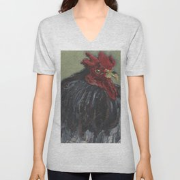 Rooster On Green Unisex V-Neck