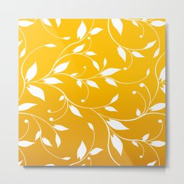 FLOWERY VINES | yellow white Metal Print