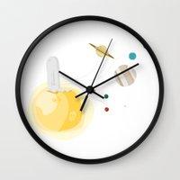 gravity Wall Clocks featuring Gravity by Jane Mathieu