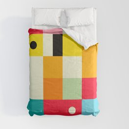 Geometric Bauhaus Pattern | Retro Arcade Video Game | Abstract Shapes Comforters