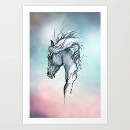 Aqua horse Art Print