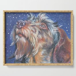 The wirehaired Dachshund dog art portrait from an original painting by L.A.Shepard Serving Tray