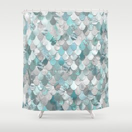 Mermaid Aqua and Grey Shower Curtain