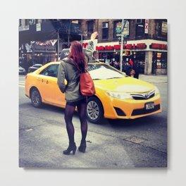 Taxi Hail Chelsea Metal Print