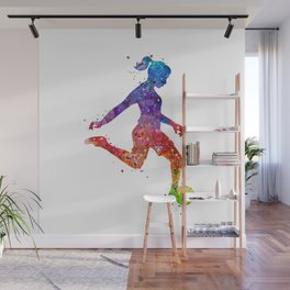 Girl Soccer Player Watercolor Art Colorful Sports Gift Wall Mural