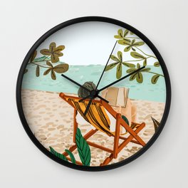 Vacay Book Club #illustration #tropical Wall Clock