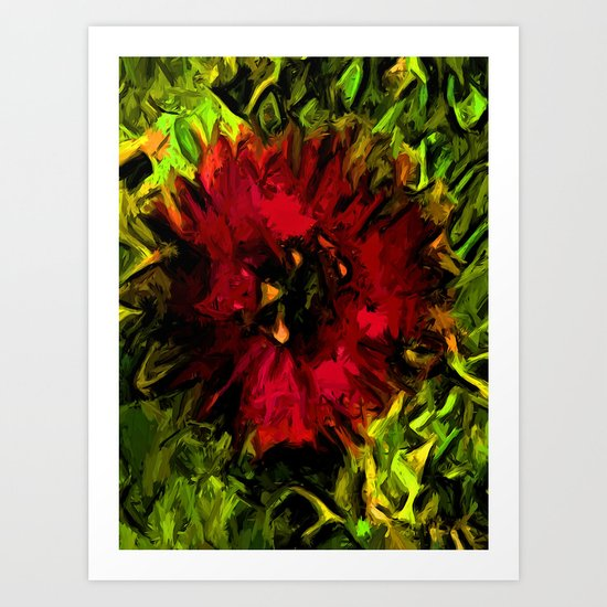 Red Flower and Green Leaves with Black Lines Art Print