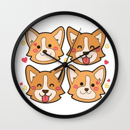Corgi Dog Gifts Cute Puppy Pets Wall Clock