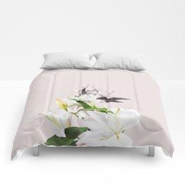 Tropical White Flowers #society6 #decor #buyart Comforters
