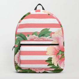Pink Peonies Salmon Stripes Backpack