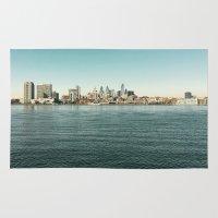 philadelphia Area & Throw Rugs featuring Philadelphia  by redcoatstudiocolor