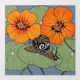 Snail on Nasturtiums Canvas Print