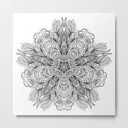 B&W Indian Mandala Metal Print