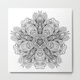 B&W Indian Mandala Metal Print