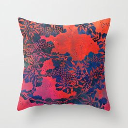 Japanese Stencil Pattern #1 | Floral Watercolor Design in Scarlet Red & Blue Throw Pillow