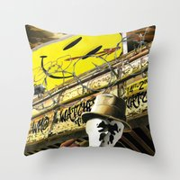 watchmen Throw Pillows featuring Who Watches The Watchmen? by SB Art Productions