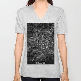 Prague Black Map Unisex V-Neck