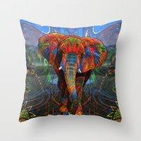 elephant Throw Pillows featuring Elephant by Waelad Akadan